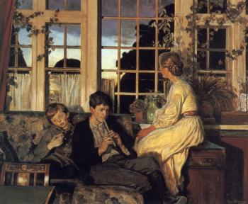 Viggo Pedersen : A Mother and Children by a Window at Dusk